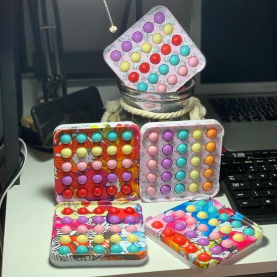 Jucarie Pop It Patrat Dimple colorat antistres cu Push Bubble
