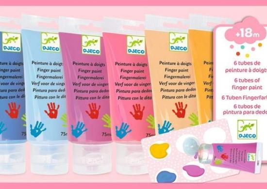 Set 6 culori pentru pictat cu mana si paleta Djeco