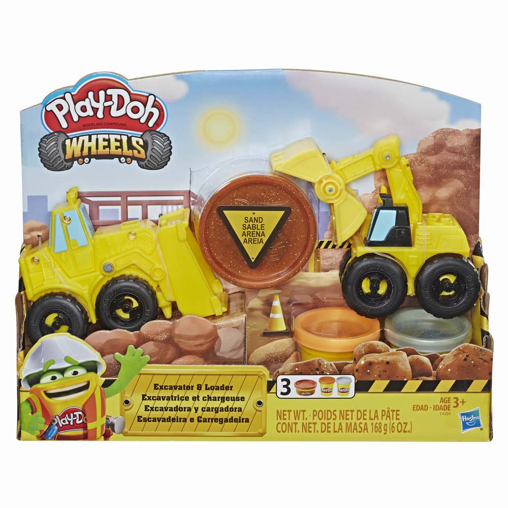 Set vehicule excavator incarcator cu nisip modelator Play-Doh