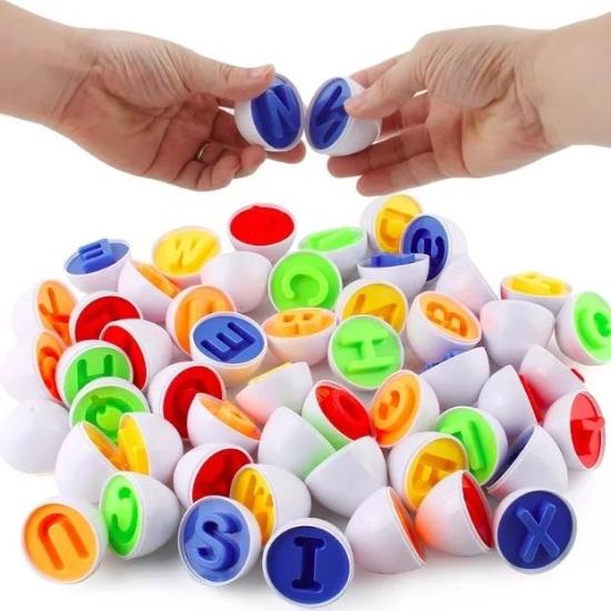 Alfabetul colorat cu majuscule Puzzle oua Jucarii Montessori