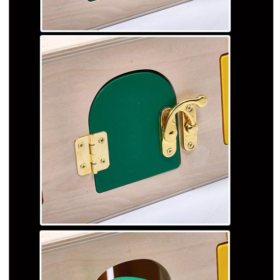 Cutia Montessori cu incuietori din lemn Incuie si descuie Usa