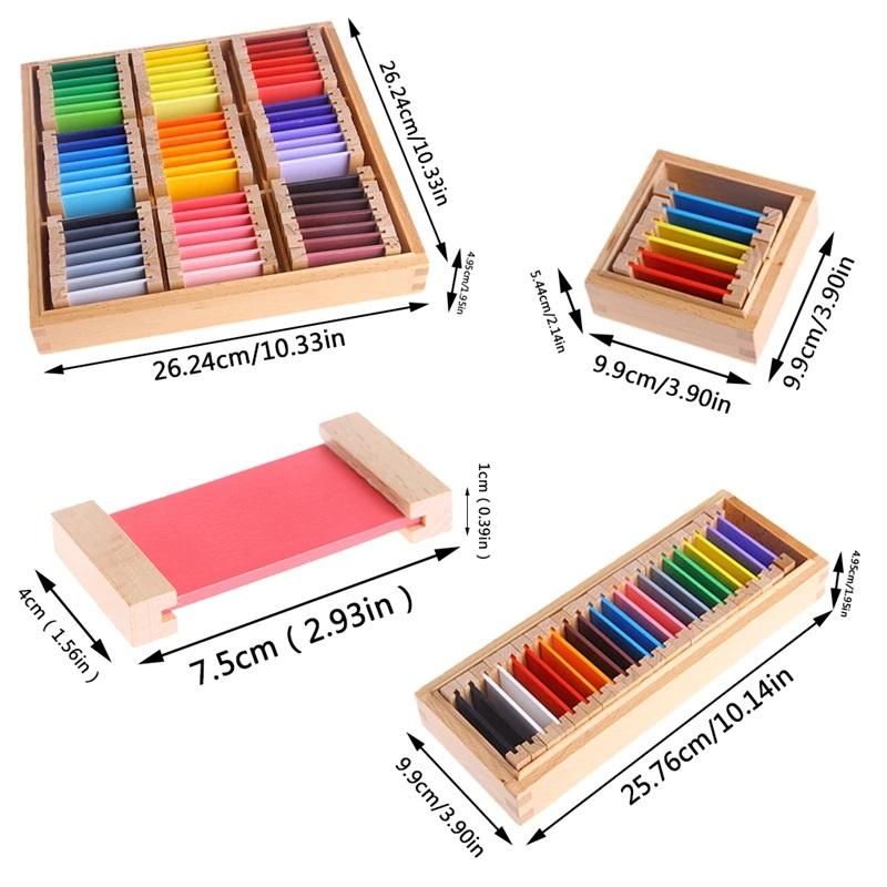 Cutia Montessori curcubeu 63 de tablete colorate din lemn