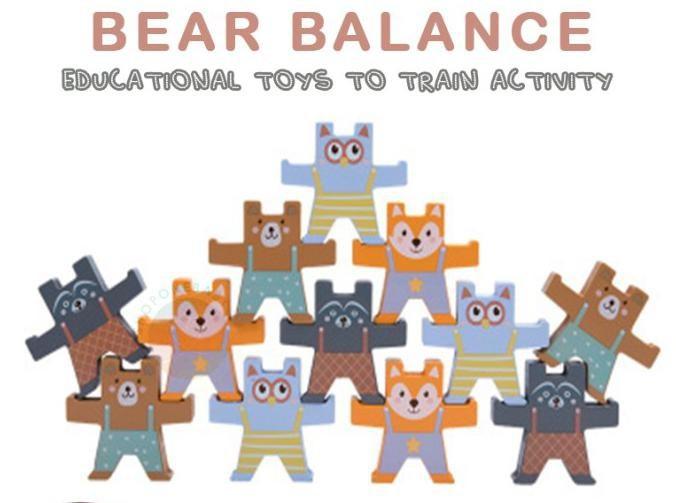 Joc de echilibru Jucarii de stivuire din lemn Ursuletii Kabi