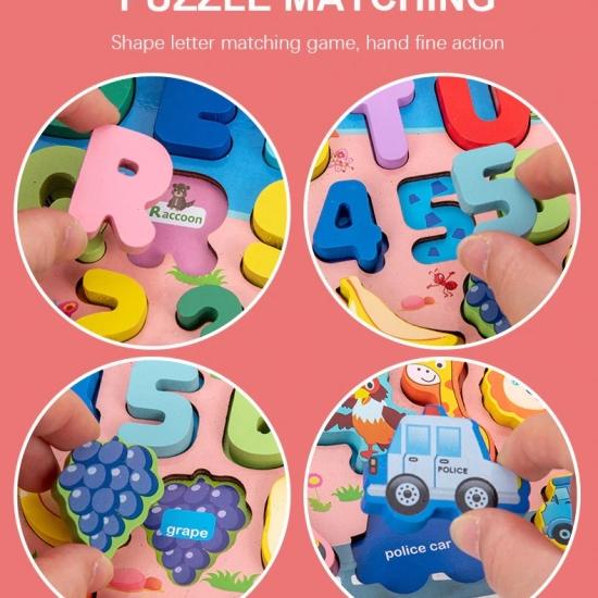 Joc logaritmic Montessori Puzzle lemn Pescuit magnetic