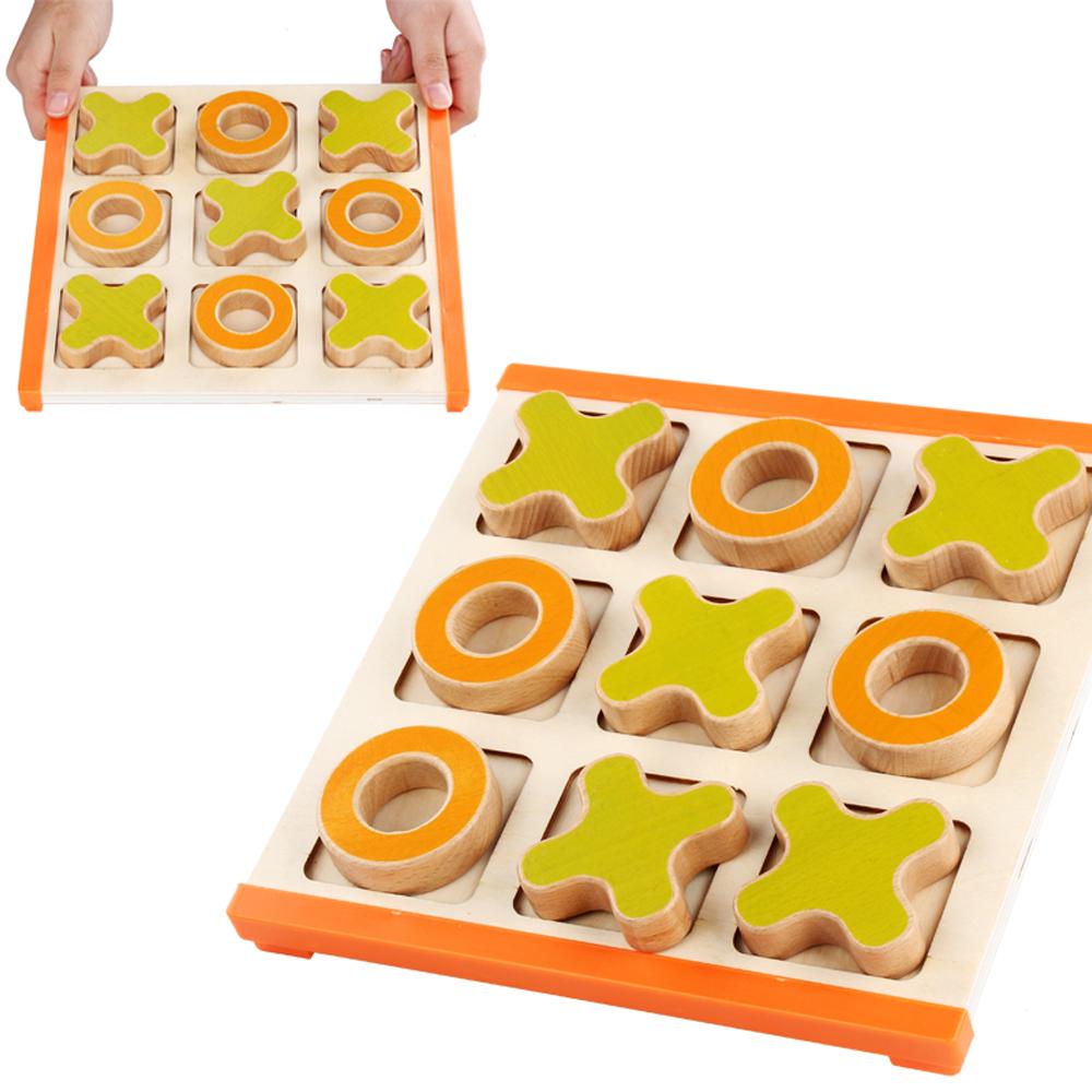 Joc logic Puzzle educativ X si 0 cu piese mari din lemn