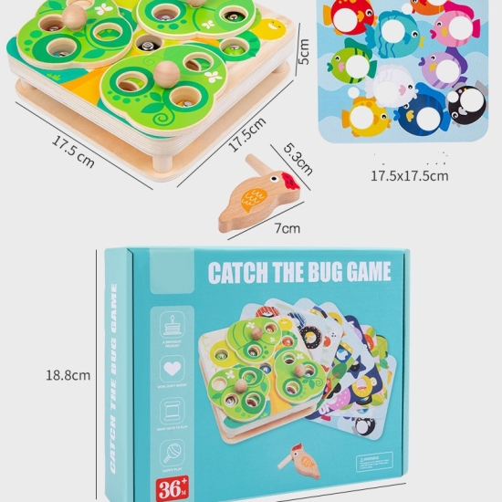 Joc pescuit magnetic Ciocanitoarea cu omizi Puzzle educativ