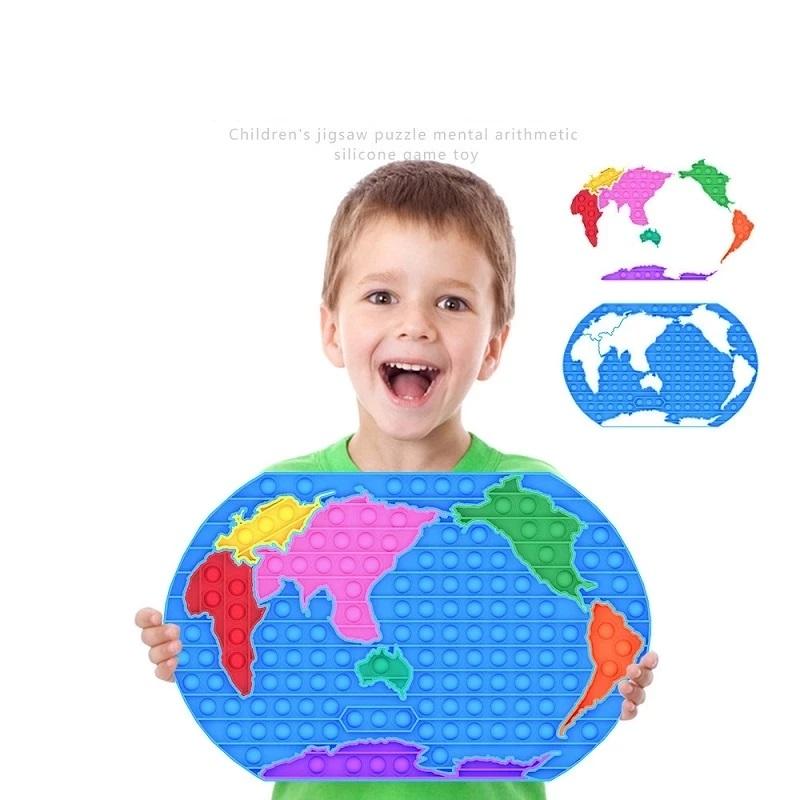 Jucarie Pop It Harta lumii joc educational Dimple antistres