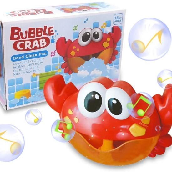 Jucarie bebe de baie cu bule Crabul muzical cu baloane