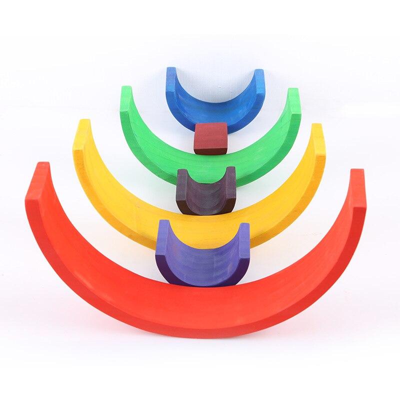Jucarii Montessori Curcubeu din lemn Stivuire Rainbow 12pcs