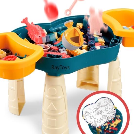 Masuta de construit Puzzle de asamblare Cuburi lego Nisip Apa