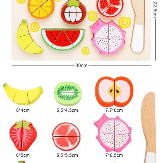 Puzzle magnetic 3D cu fructe de feliat din lemn