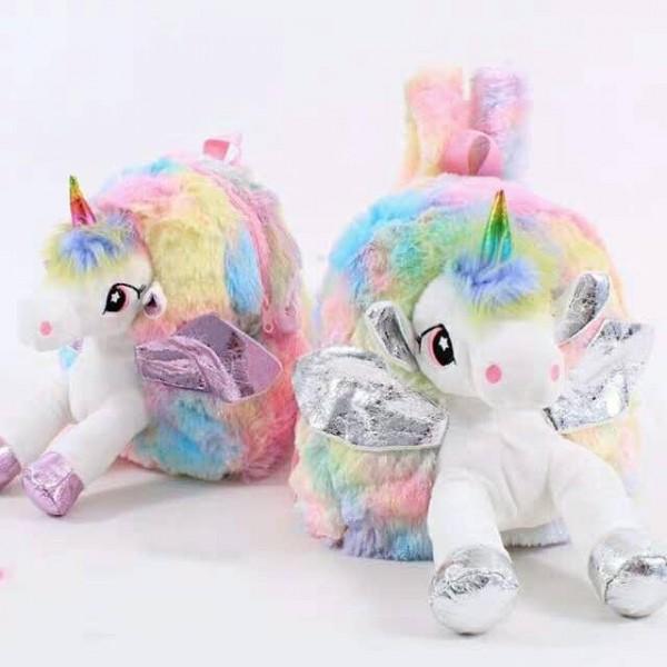 Rucsac din plus Ghiozdan cu Unicorn 3D bretele reglabile