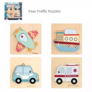 Set 4 puzzle vehicule 3D din lemn Jucarii educative Kabi