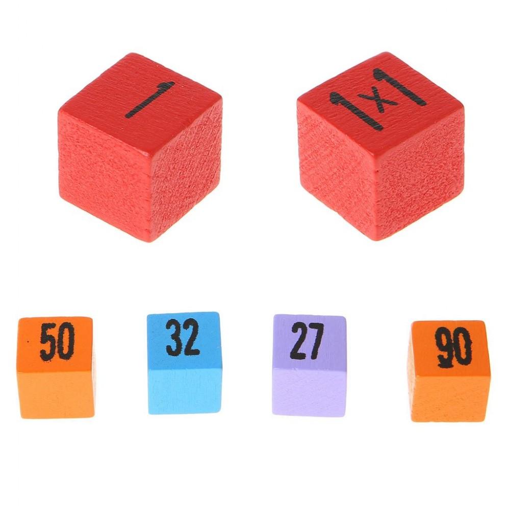 Tabla inmultirii colorata din lemn 100pcs Joc educativ
