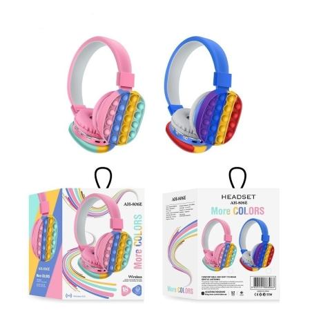 Casti Wireless Pop It copii colorate Curcubeu Bluetooth