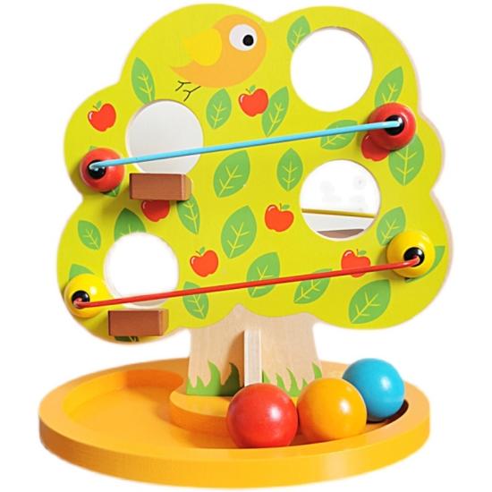 Copacul Montessori Pista cu bile Marul colorat din lemn