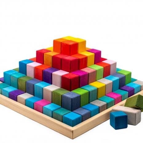 Cuburi stivuire Set 120 blocuri constructie lemn Marc Toys