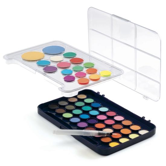 Cutia cu 50 de culori guase Pensula pe baza de apa Djeco