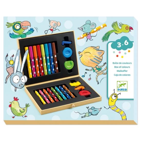 Cutia cu Creioane colorate Carioci si Forme copii Djeco