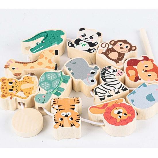 Joc de snuruit Animale salbatice lemn cu covor puzzle copii