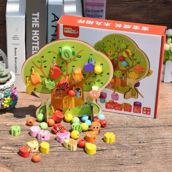 Joc de snuruit Copacul Montessori cu fructe animale si bile