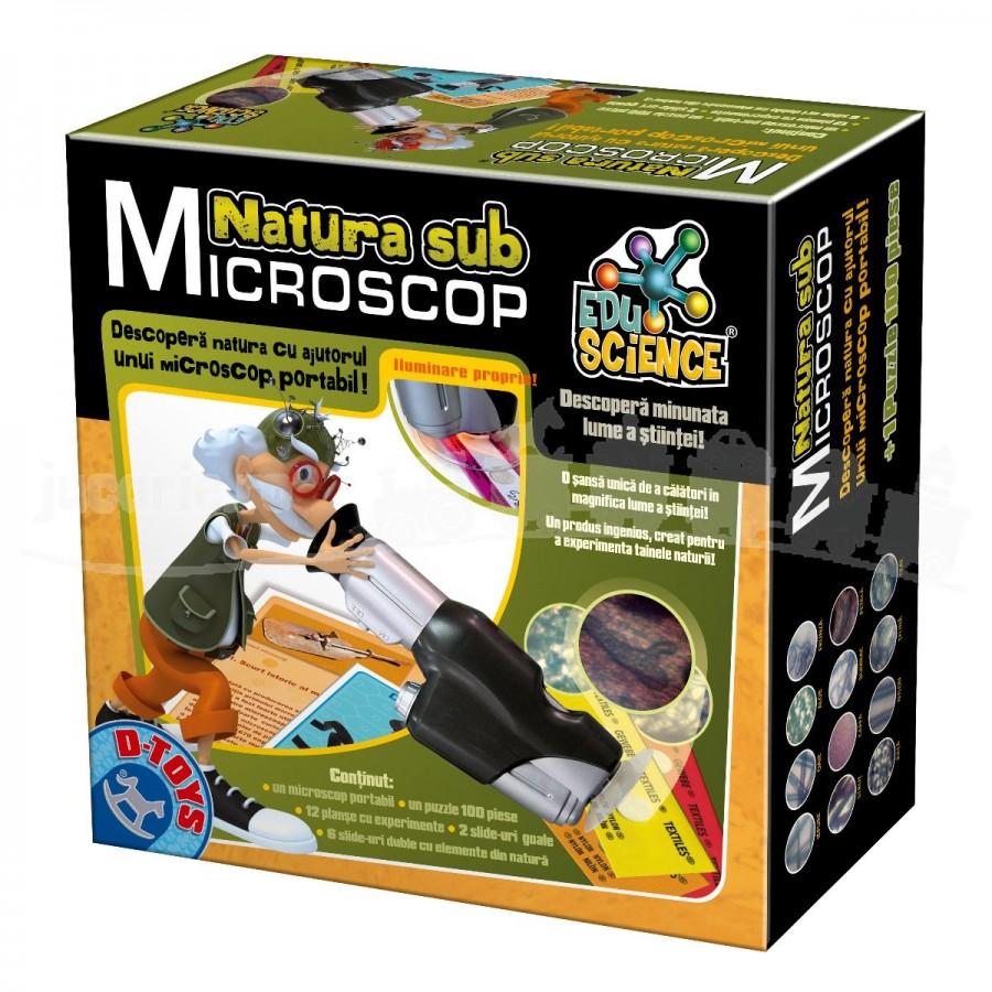Joc educativ Puzzle Natura sub Microscop pentru copii D-Toys