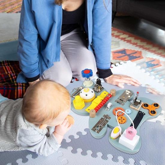 Jucarie Incuietori Ursuletul Montessori Tabla Impinge zavorul