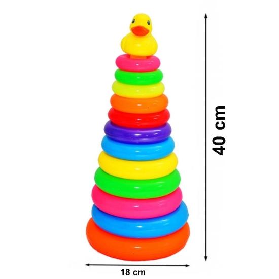 Jucarie Piramida cu 12 cercuri colorate Stivuim Ratusca