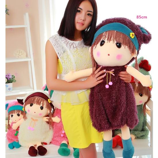 Papusa moale cu codite si rochita Jucarie plus Baby Doll