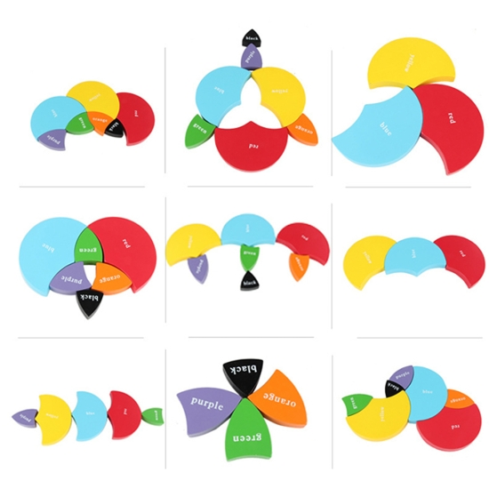 Puzzle 3D forme geometrice Cercuri Jucarie Montessori sortare