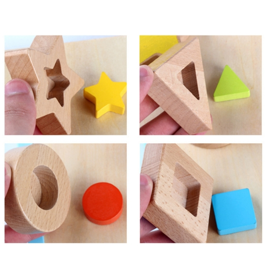 Puzzle 3D forme geometrice Jucarie Montessori sortare