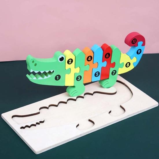 Puzzle incastru 3D Crocodil colorat Jucarie cu cifre din lemn