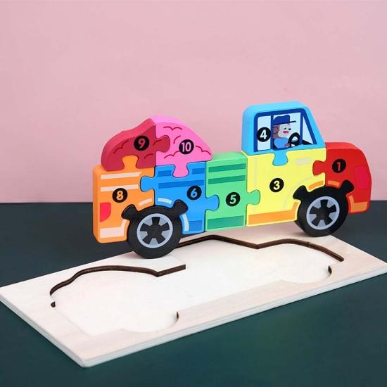 Puzzle incastru 3D Masina colorat Jucarie cu cifre din lemn