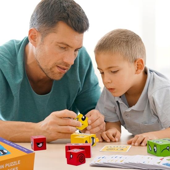 Puzzle lemn cu expresii faciale si carduri Joc de rol copii