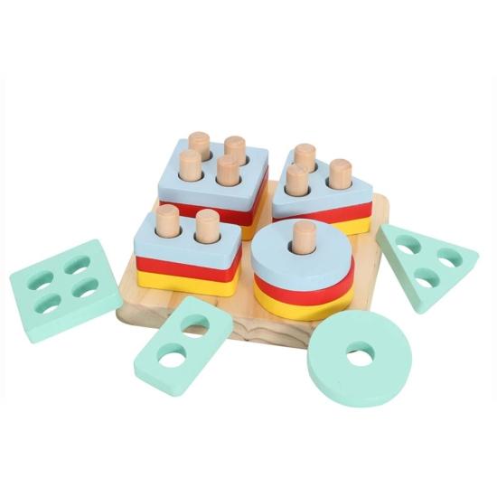 Set 4 Forme geometrice Puzzle Montessori si Tetris 48 piese