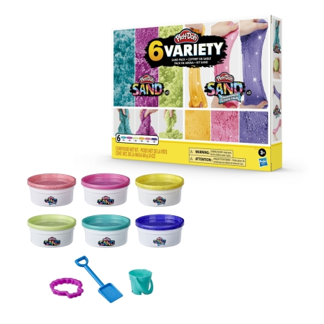 Set 6 cutii nisip kinetic sclipitor colorat Play-Doh Sand