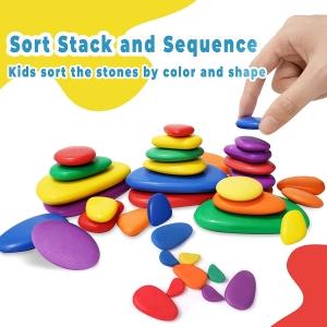Set Pietre Rainbow Jucarii stivuire educative si de echilibru