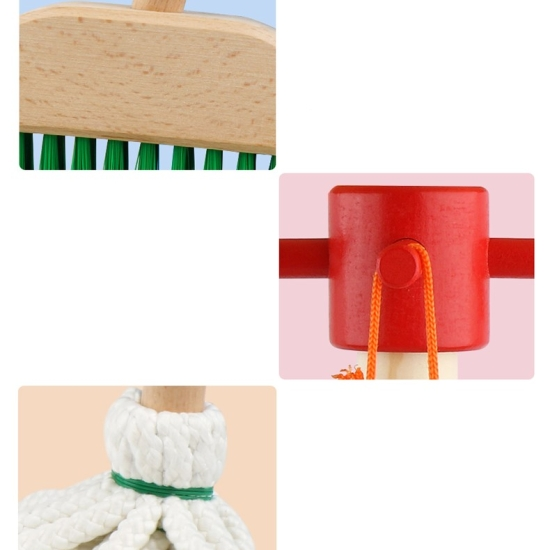 Set de curatenie cu stativ din lemn Set instrumente Cleaning