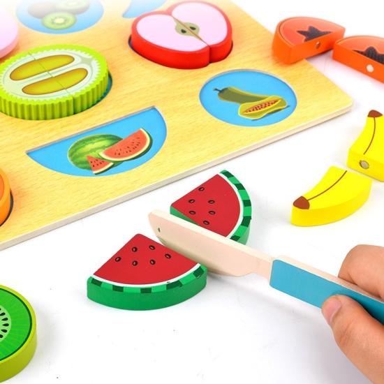 Set Alimente de feliat Puzzle 3D cu accesorii din lemn