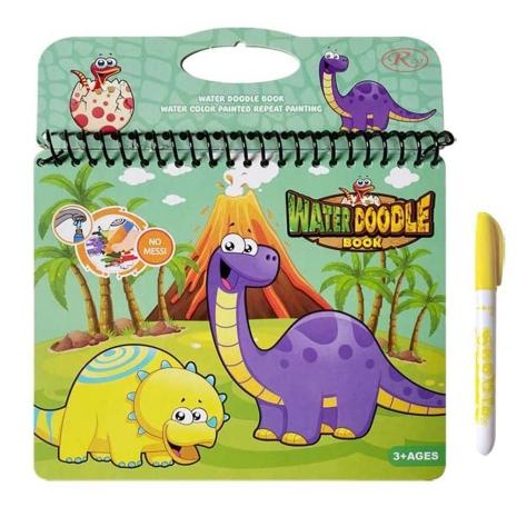 Carte de colorat Dinozaur Marker cu apa reutilizabila