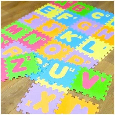 Covor puzzle Alfabetul de la A-Z cu litere mari 26 piese