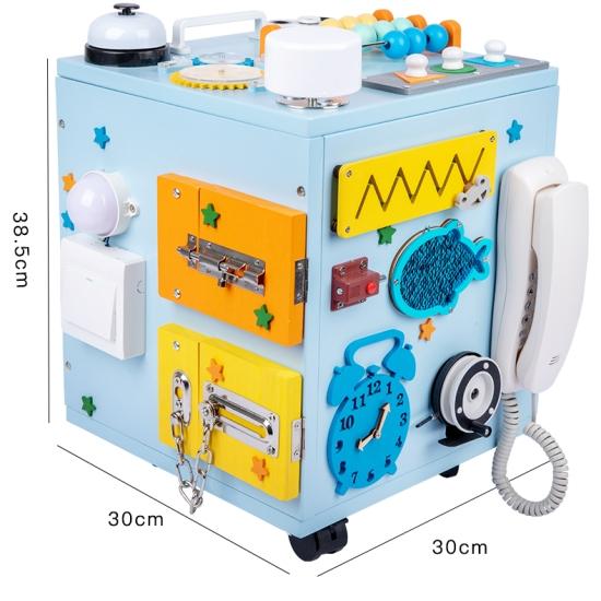 Cub cu activitati Montessori Centru educativ lemn Busy Box