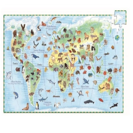 Puzzle Asociere Animalele lumii cu Continentele 100pc Djeco