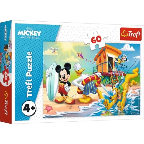 Puzzle Trefl Mickey Mouse Disney la plaja cu 60 piese