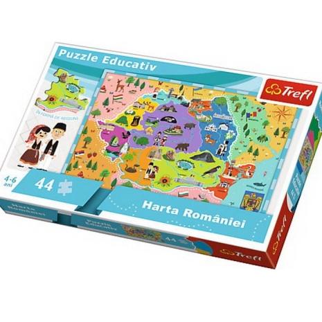 Puzzle Trefl educativ cu Harta Romaniei in Romana