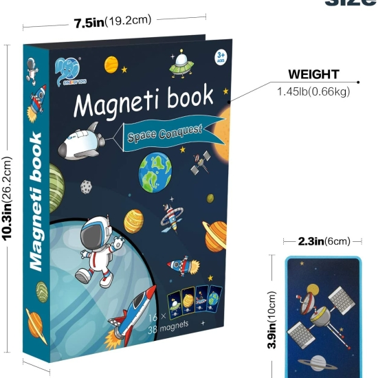 Puzzle copii Carte magnetica cu Nave spatiale 38 piese