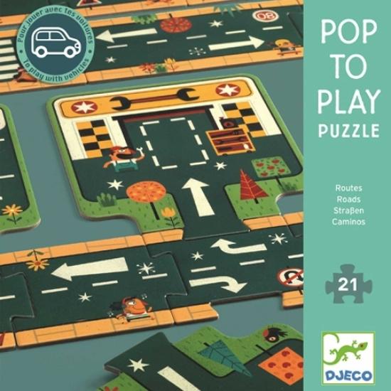 Puzzle cu sosele Construim Drumurile din Oras Djeco
