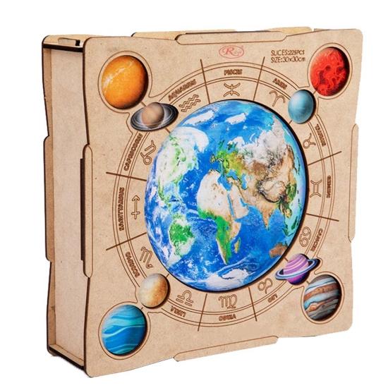 Puzzle din lemn Globul Jigsaw 225 piese Animale