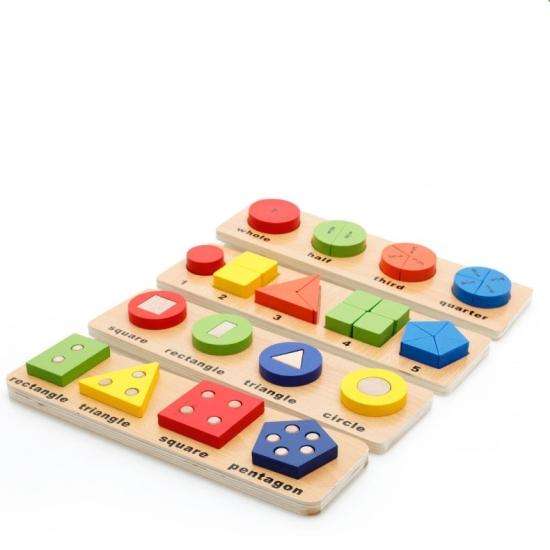 Puzzle educativ cu forme geometrice Jucarii copii lemn