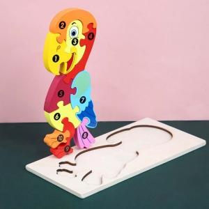 Puzzle incastru 3D Papagal colorata Jucarie cu cifre din lemn